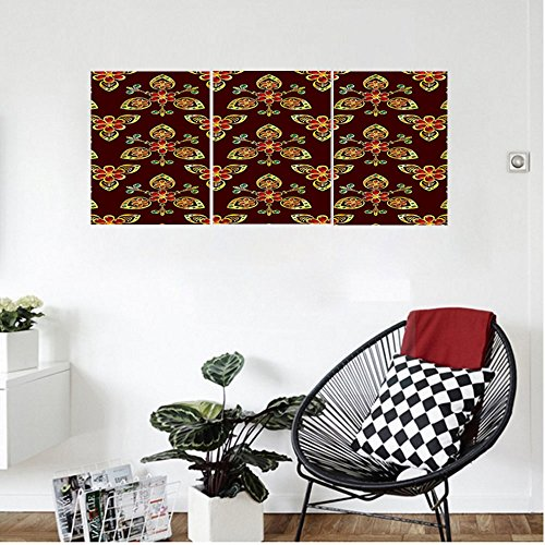 Liguo88 Custom canvas Antique Classical Floral Arabesque Islamic Pattern in Vibrant Colors Artsy Image Wall Hanging for Bedroom Living Room Gold Chestnut Brown by Liguo88