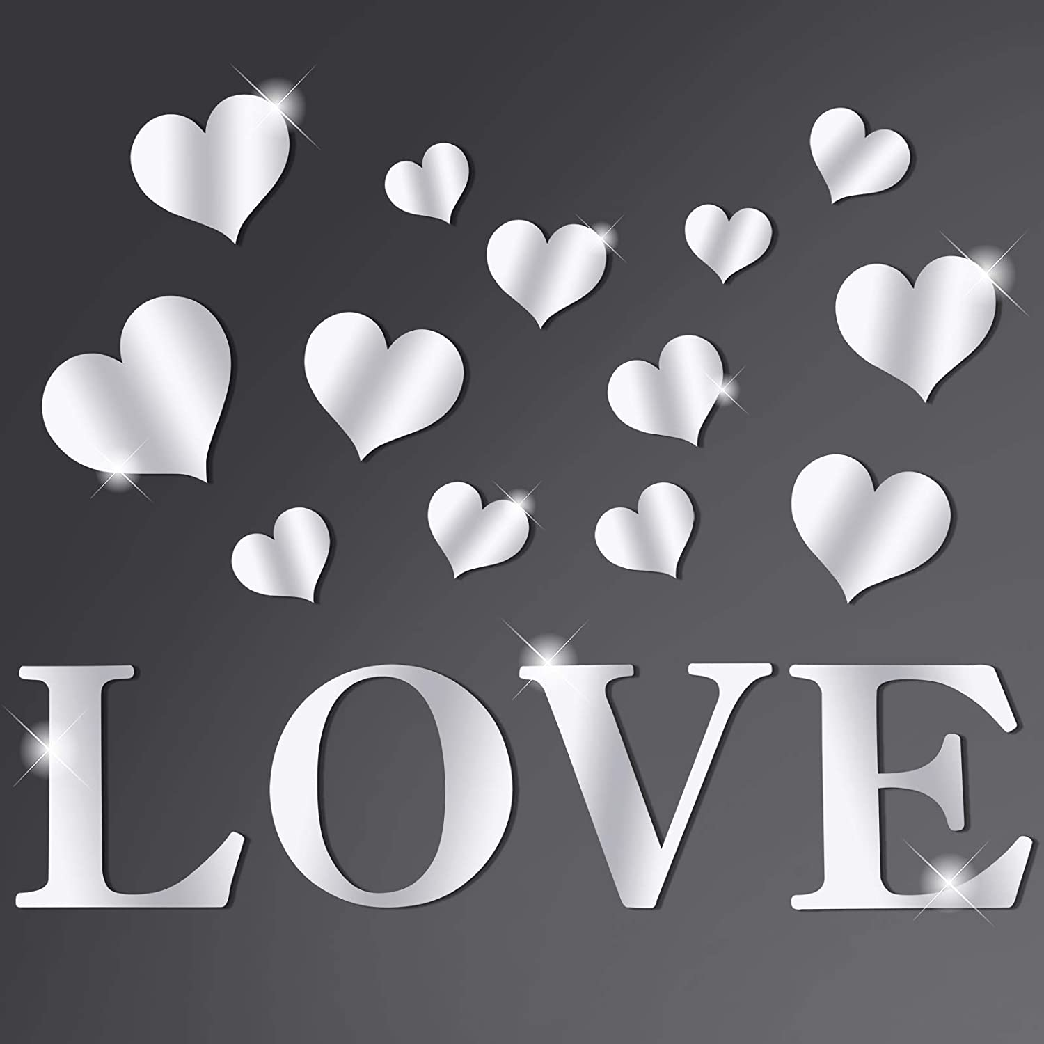 Sntieecr 17 PCS Love Letters and Hearts Shaped Acrylic Mirror Wall Stickers Crystal DIY Wall Decals Removable Mirror Surface Wall Stickers for Home Living Room Decoration (Silver)