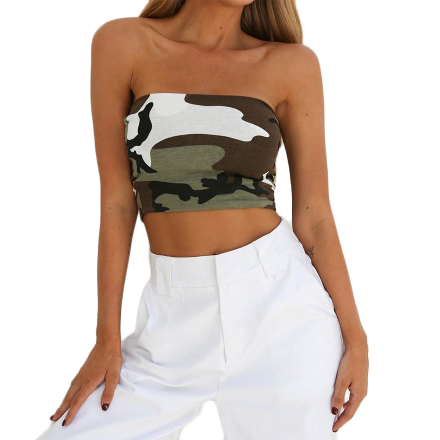 b4943bf218 WIFORNT Women Camouflage Strapless Bandeau Tube Crop Tops Bra Sexy Breast  Wrap Cami Tops at Amazon Women s Clothing store