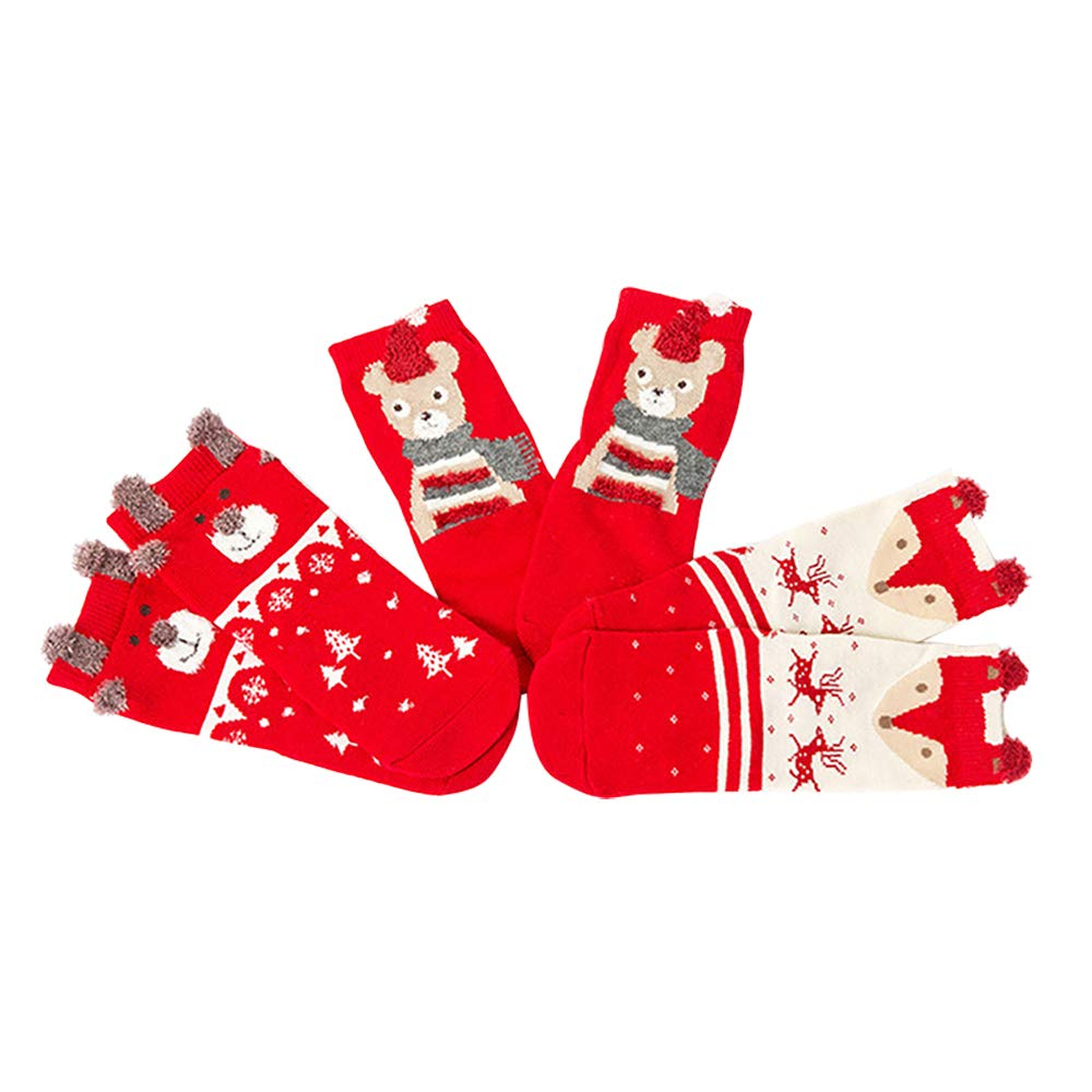 LLY 3pairs Newborn Baby Toddler Boys Girls Cartoon Bear Santa Striped Cute Christmas Warm Cotton Socks Aged 0-2 Year