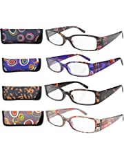 Eyekepper 4-Pack Beautiful Colors Spring Hinge Rectangular Reading Glasses +2.50