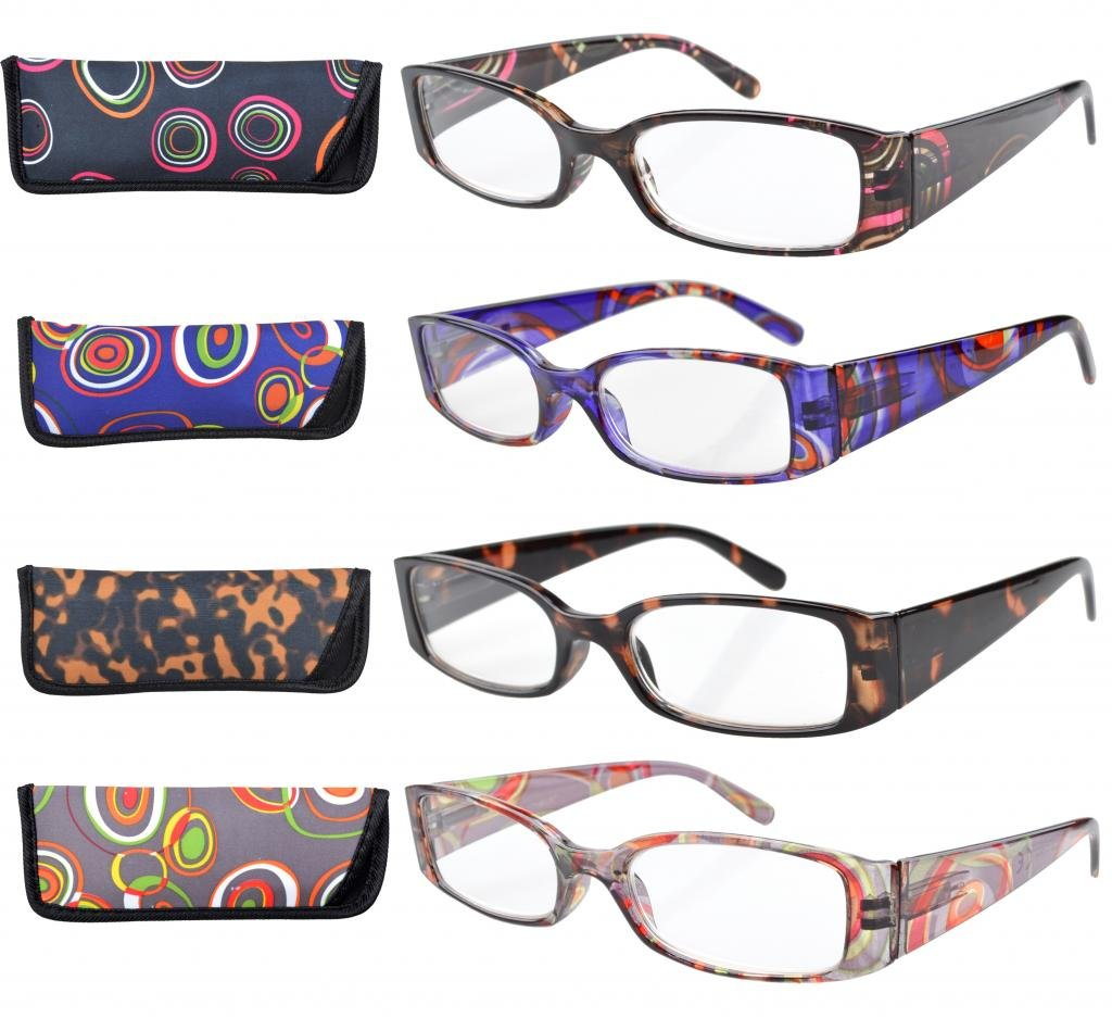 Eyekepper 4-Pack Beautiful Colors Spring Hinge Rectangular Reading Glasses +1.50