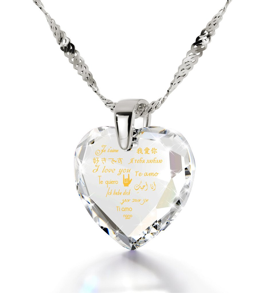 925 Sterling Silver Heart Necklace I Love You Pendant 12 Languages Inscribed on Clear Cubic Zirconia, 18''