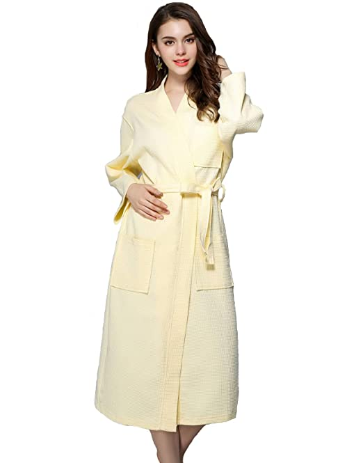 TieNew Invierno Kimono Mujer Batas Largas, Bata Albornoz Mujer Algodón con Cinturón Pijama Invierno Corto Albornoz Ropa de Dormir Manga Largas, ...