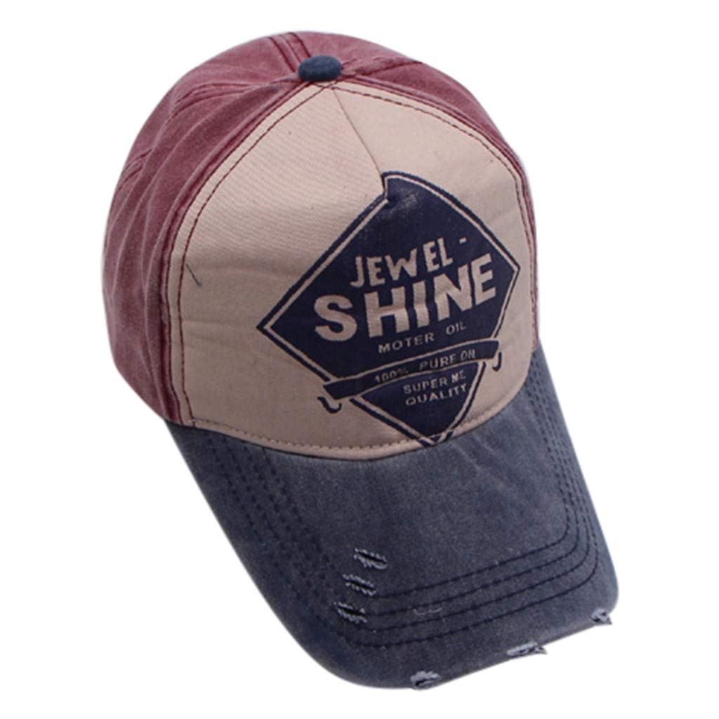 Men Women Cotton Baseball Cap Embroidered Letter Plain Adjustable Baseball Visor Cap Hip Hop Trend Cap (Navy)