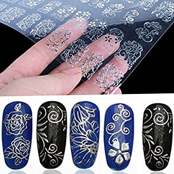 Warm Girl Sliver & Gold 3d Flower Nail Art Stickers Decals Stamping Diy Nail Decoration Tools 2