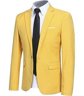 Allthemen Chamarra de Traje Delgado con un botón Smart Casual Blazer Jacket cb7b9b807f2
