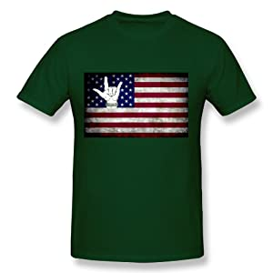 HM Men's T-shirt America Flag And I Love You Gesture Size M Forest Green