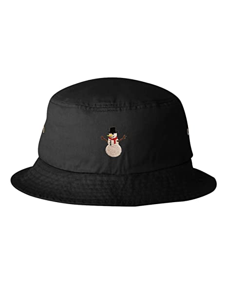 Amazon.com  One Size Black Adult Snowman Embroidered Bucket Cap Dad ... 1fa86fe8a76