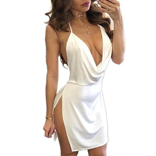 VANCOL Women's Sexy Deep V-Neck Halter Backless Slit Mini Party Club Dress