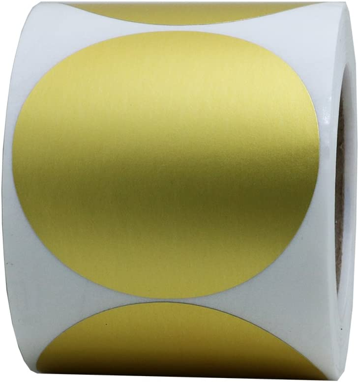 """Hybsk Gold Labels 2"""" Round Color Coding Dots Stickers Adhesive Label 300 Per Roll (Gold)"""