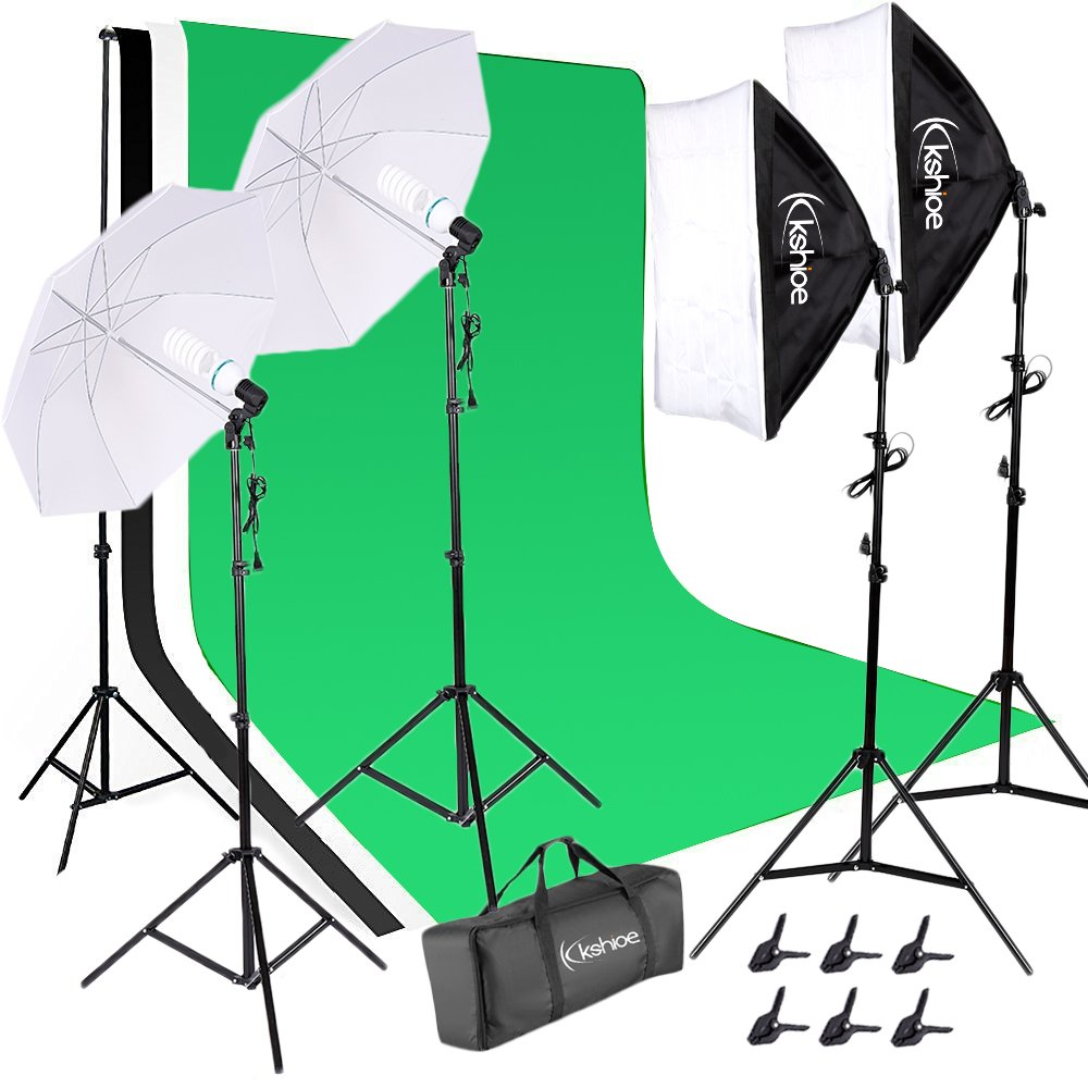 Kshioe 2M x 3M/6.6ft x 9.8ft Background Support System and 2700W 5500K Umbrellas Softbox Continuous Lighting Kit for Photo Studio Product,Portrait and Video Shoot Photography