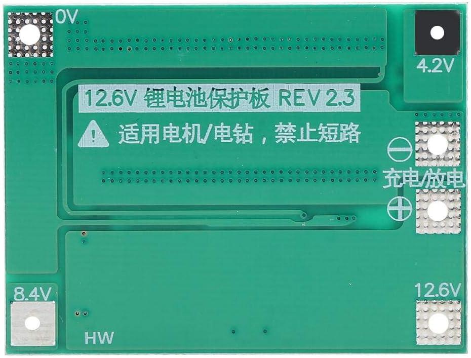 NITRIP Placa de protecci/ón de bater/ía 3 Series 11.1V 12.6V 40A 18650 con Taladro de Arranque equilibrado 40A