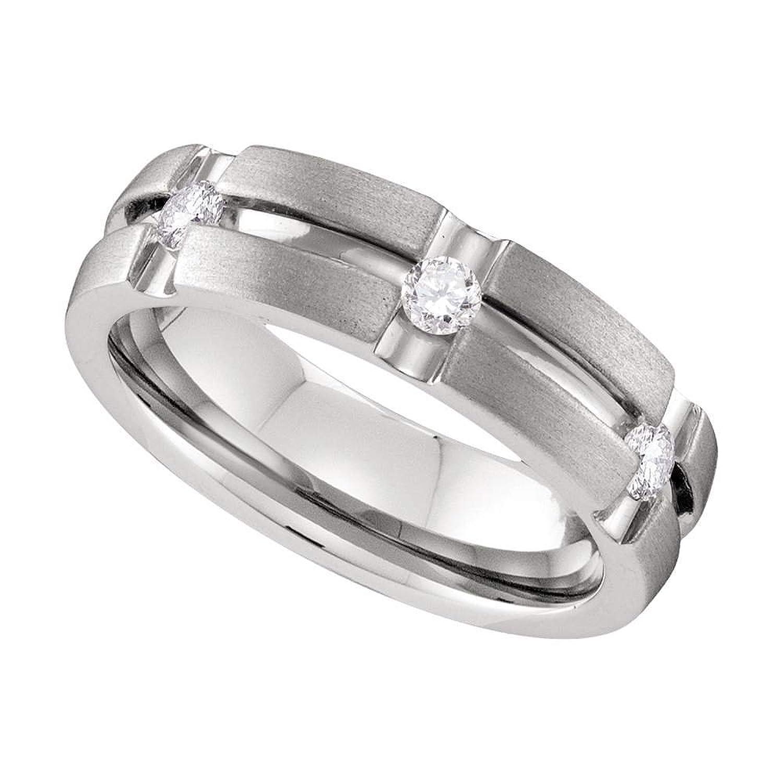 10k White Gold Mens Round Diamond Matte-finish Wedding Anniversary Band Ring 1/4 Cttw