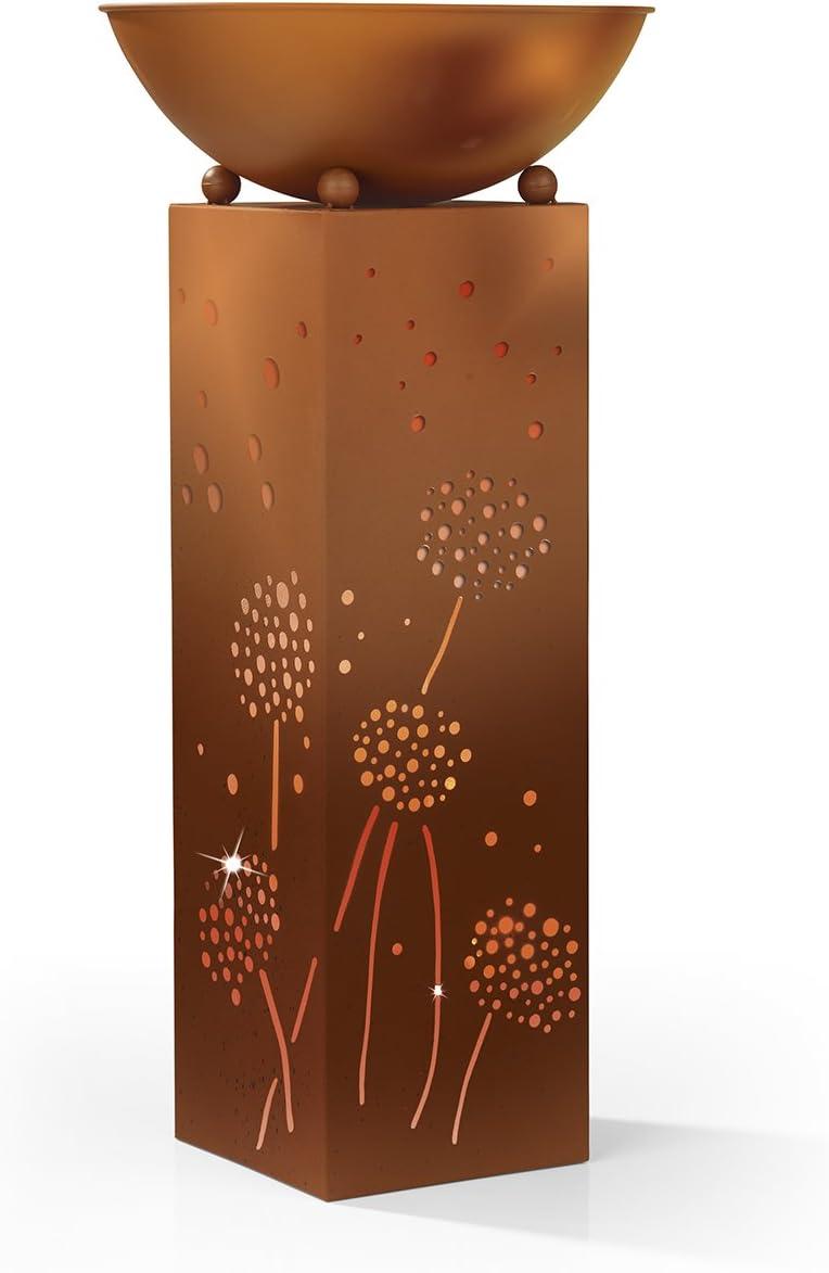 Easymaxx 04092 Außen-Dekobeleuchtung Säule mit Pusteblumen LED Warm-Weiß Rost