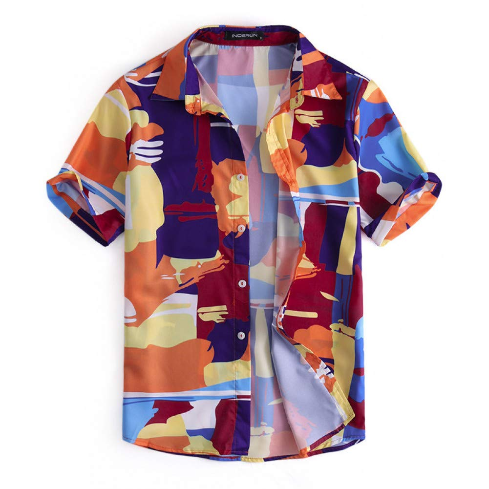 WHFDNSCS Men Shirts Floral Casual Tops Lapel Short Sleeve Loose Tropical Beach Camisa Vacation Men Clothes