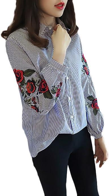 Lannister Fashion Camisas Mujer Elegantes Bordadas De Flores Blusas Manga Larga Cuello Solapa Un Solo Pecho Moda Casual Primavera Verano Top Camisa Ropa EN Oferta: Amazon.es: Ropa y accesorios