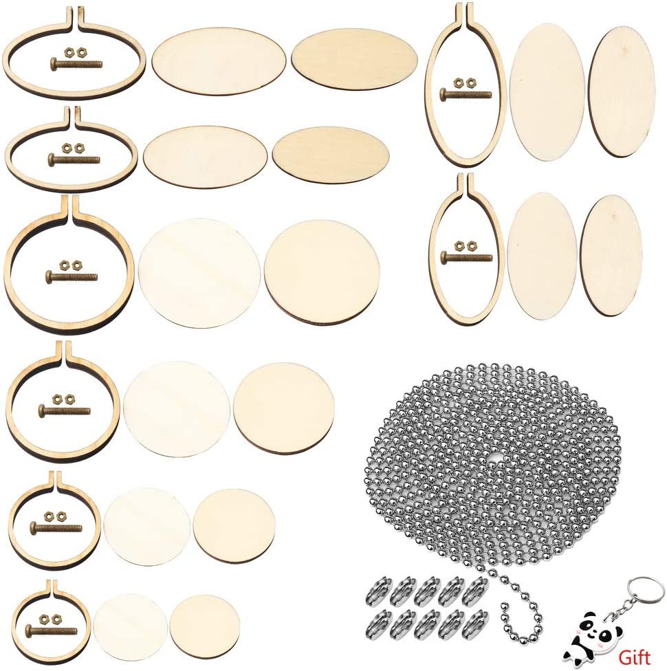 SUMAJU 8 Pieces Ring Embroidery Hoops,Adjustable Wooden Cross Stitch Hoop with 16 Pieces Connectors and 1 Piece Beaded Chain for Arts Crafts Sewing