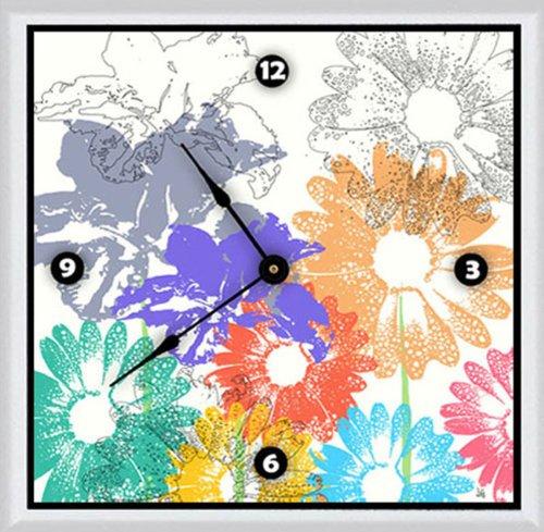 Green Leaf Art Spring Floral Shapes Art clock, 20 by 20-Inch