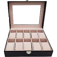 10 Piece Black Pu Croco Leather Watch Organizer Box