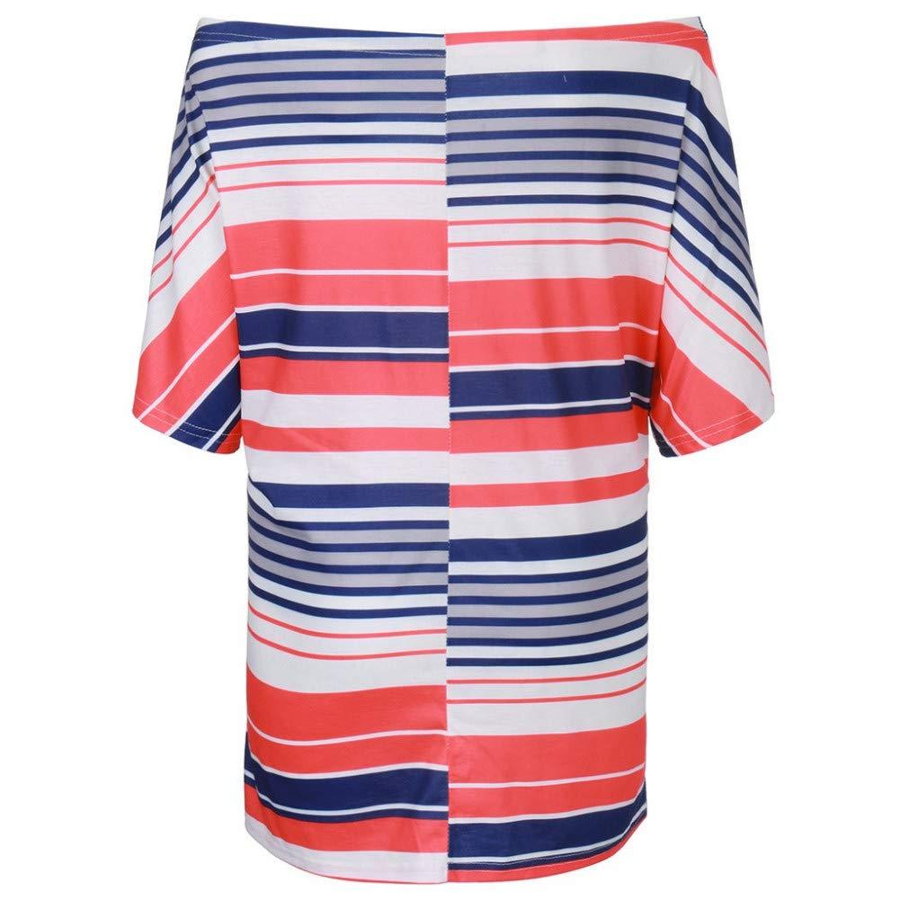 STYQLM Fashion Womens TShirt Ladies Short Sleeve Slash Neck One Shoulder Striped Knot Casual Simple Top Tee Summer