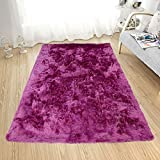 Homemusthaves Soft Fluffy Thick Solid Non-Skin Shaggy Shag Pile Area Rug Carpet (8' x 10', Hot Pink)