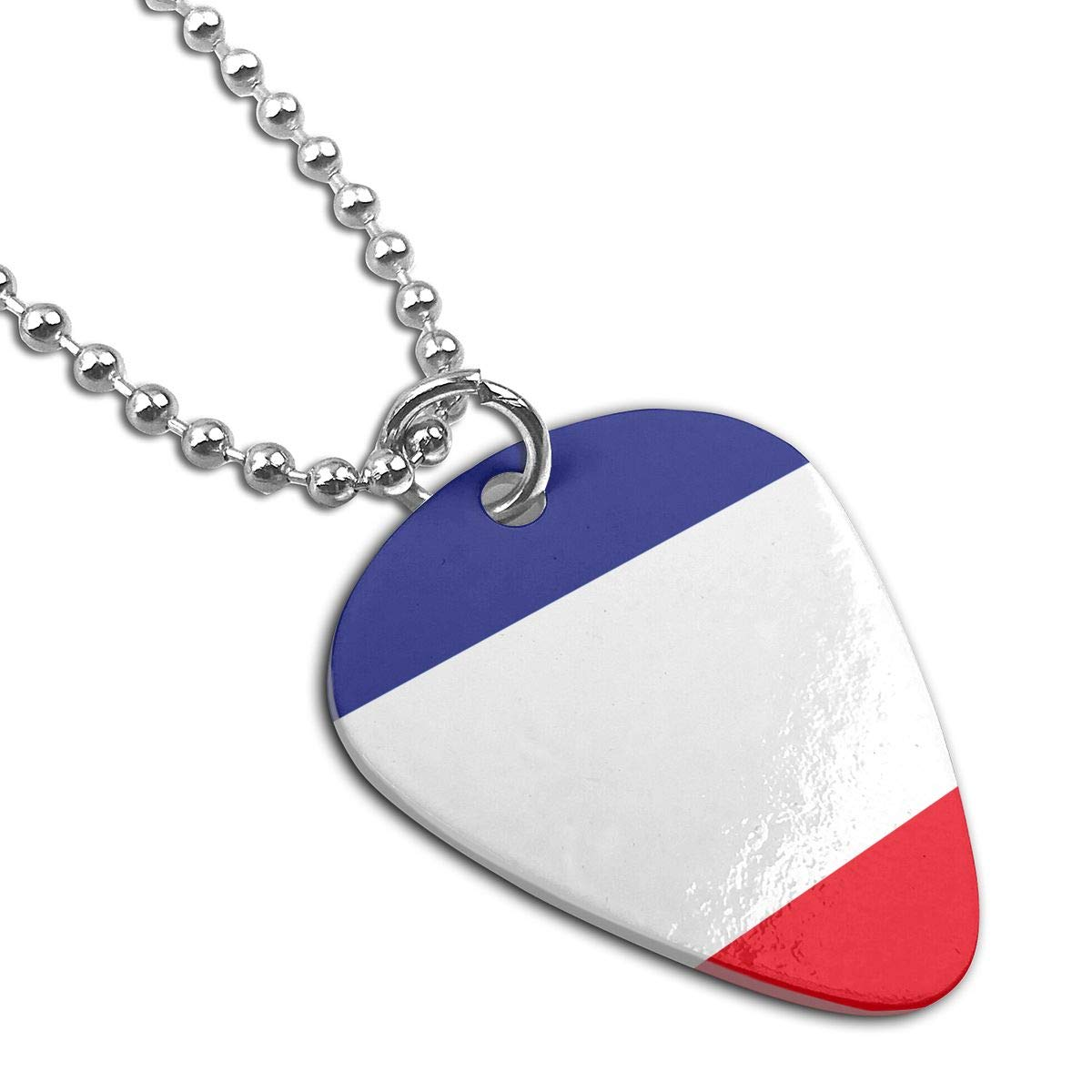Sheery France Flag Dog Tag Pendant With Guitar Bassiform