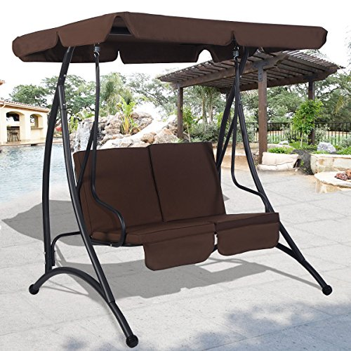 Brown Swing Hammock Chair Patio 2 Person Seat With Canopy Outdoor Furniture