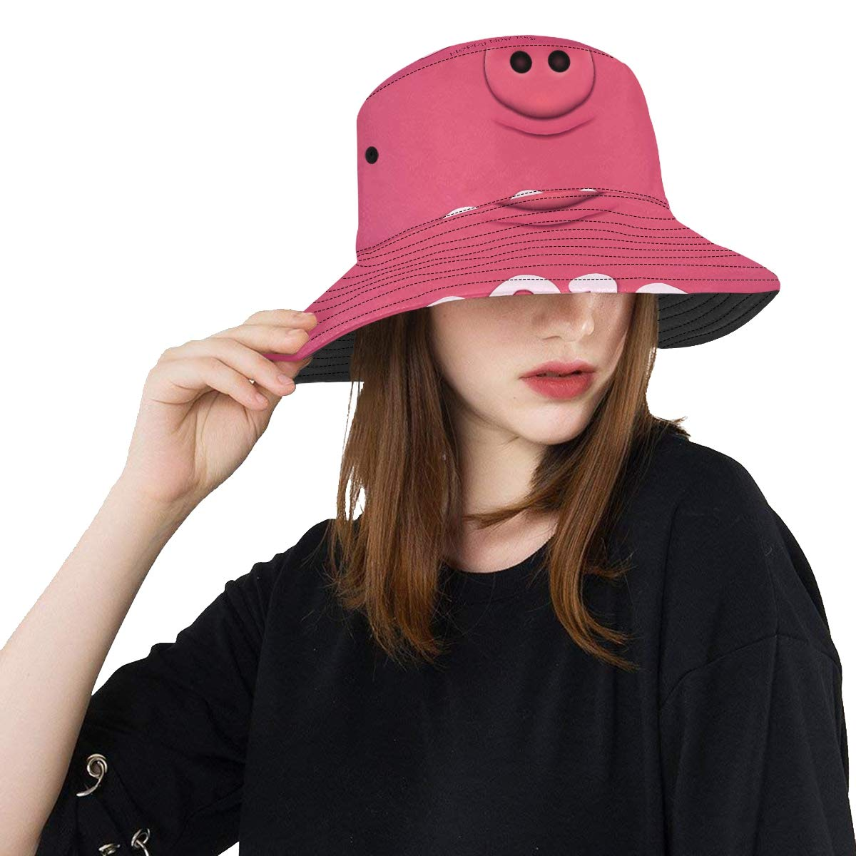 08f29041ad6 ... Pig New Summer Unisex Cotton Fashion Fishing Sun Bucket Hats for Kid  Teens Women and Men with Customize Top Packable Fisherman Cap for Outdoor  Travel