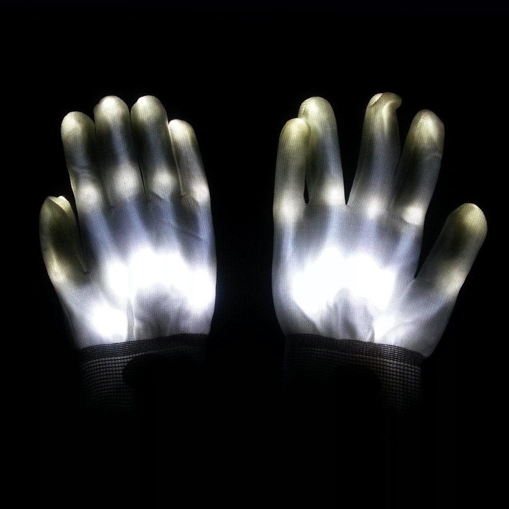 Led Dancing Skeleton Gloves for Kids Halloween Party Dance (White)