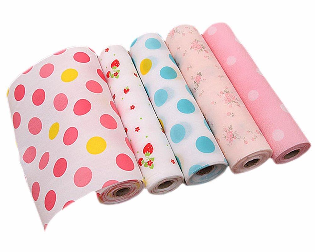 Rollo de papel para forrar cajones de cocina. Diseño floral y de lunares. No es adhesivo. 30 x 300 cm: Amazon.es: Hogar