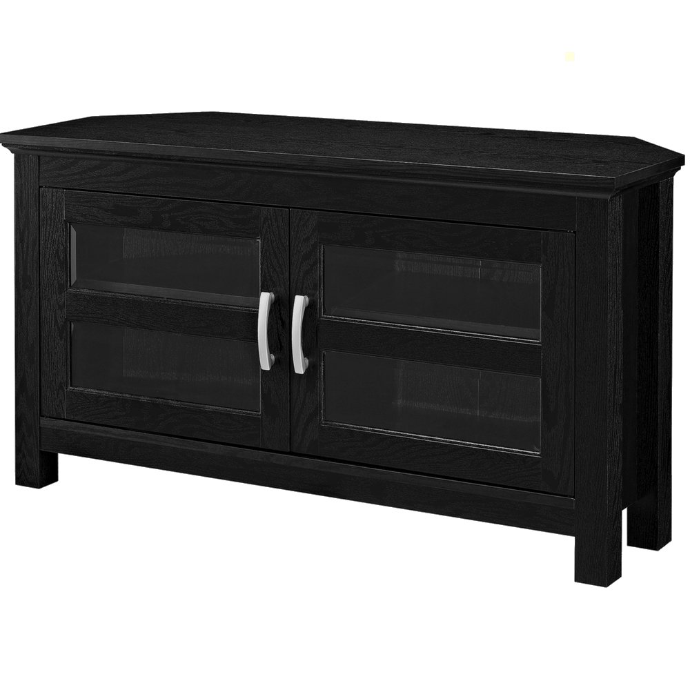 EFD Multi Media TV Stand with Glass Doors and Shelves Black 48 Inch Large Wooden Modern Corner Flat Screen Panel Tv Stand Media Storage Cabinet eBook by Easy&FunDeals by EFD