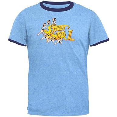 120ce34120a Street Fighter (video Game) - Mens Ryu Logo T-shirt Large Light Blue