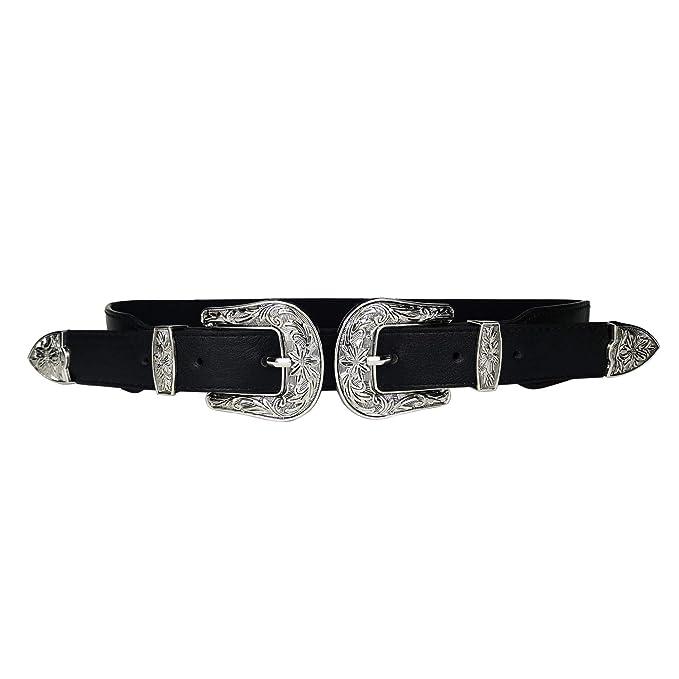 nuova collezione los angeles stati uniti MYB Cintura nera per donna doppia fibbia elastica - fibbia ...