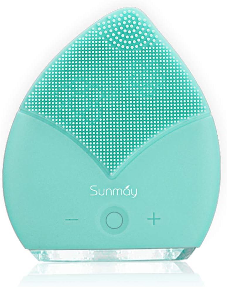 【Sunmay Leaf】SUNMAY Limpiador Facial Impermeable Eléctrico Masajeador con Silicona FDA Recargable Vibraciones Sónicas Dispositivo para Exfoliación la Cara