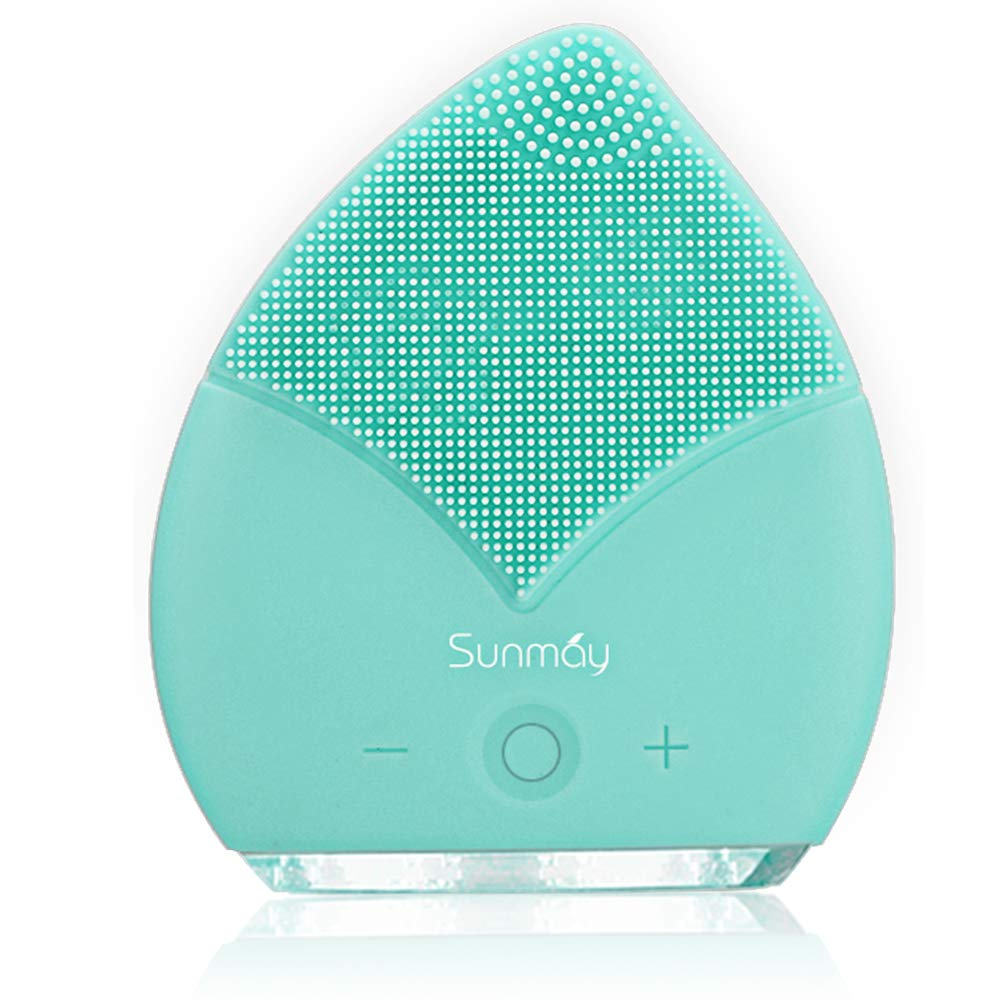 SUNMAY Leaf Sonic Facial Cleanser,Silicone Face Cleansing Brushes for Anti Aging Skin,Rechargeable Waterproof Deep Scrubbing Soft Face Massager Exfoliator Leaf Shape with Timer(Tiffany Blue)