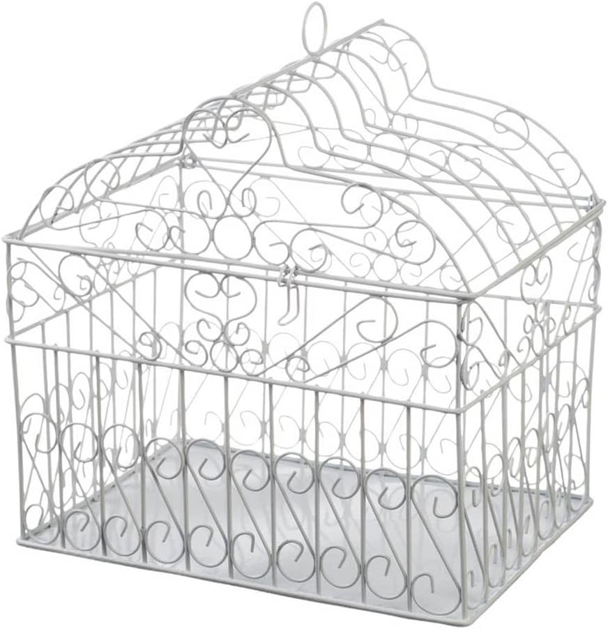 Darice VL1017 Metal Bridal Birdcage Card Holder, White