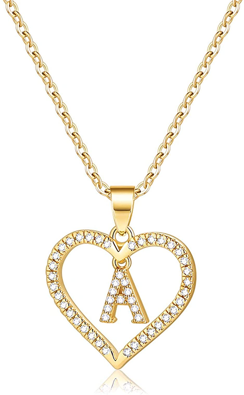 Letter chain heart-heart chain-initial chain-heart chain-women/'s jewellery