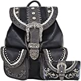 Western Style Daypack Cowgirl Backpack Belt Buckle Fashion School Bag Women Travel Biker Purse Wallet Set (Black Set)