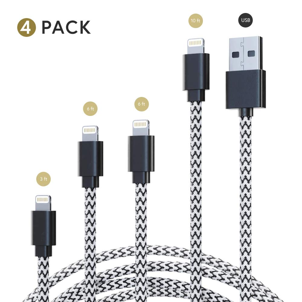 Apple Device & iPhone Charger Pack: 3 ft, 6 ft & 10 ft Two Tone Nylon Braided USB Charging & Data Transfer Cable Bundle - Fast Lightning Cord Chargers for i Phone, iPad & iPod Models Nileflo