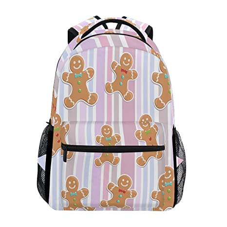 9a7fe7b0d76c Amazon.com : Cute Gingerbread Man Backpack Waterproof School ...