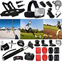 Xtech VOLLEYBALL ACCESSORIES Kit for GoPro Hero 4 3+ 3 2 1 Hero4 Hero3 Hero2, Hero 4 Silver, Hero 4 Black, Hero 3+ Hero3+ Hero 3 Silver, Hero 3 Black and for basketball, Soccer, Football, Golf, Golfing, Tennis, Baseball, Volleyball, Beach-ball, Hockey, Ice Hockey and other Similar Sport Activities Includes: + Head Strap Mount + Helmet Harness Mount + Chest Strap Mount + 2 J-Hook Mount + Camera Wrist Mount + Selfie Stick Monopod Pole + 2 Curved Adhesive Stickers + Curved Surface Mounts +MORE