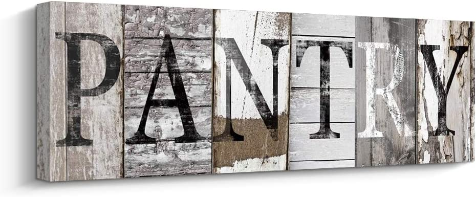 Pantry Sign Kitchen Decor Canvas Prints Decorative Signs(with Solid Wood Inner Frame) (Pantry, 8 x 24 inch)