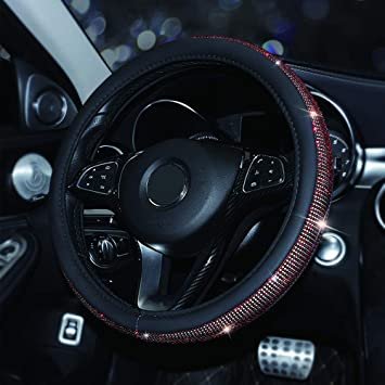 MASO Car Black PU Leather Steering Wheel Cover Soft Skidproof Cover with Crystal Sparkled Blue Diamond-Universal Size 37-38cm