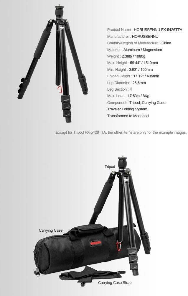 HORUSBENNU DSRL SLR Traveler Camera Tripod FX-5426TTA 59 Black with Case
