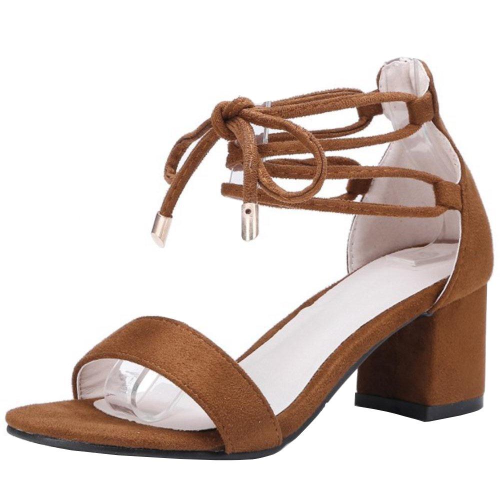TAOFFEN Damen Schnurung Sandalen Sommer Schuhe Absatz  37 EU|Brown-1