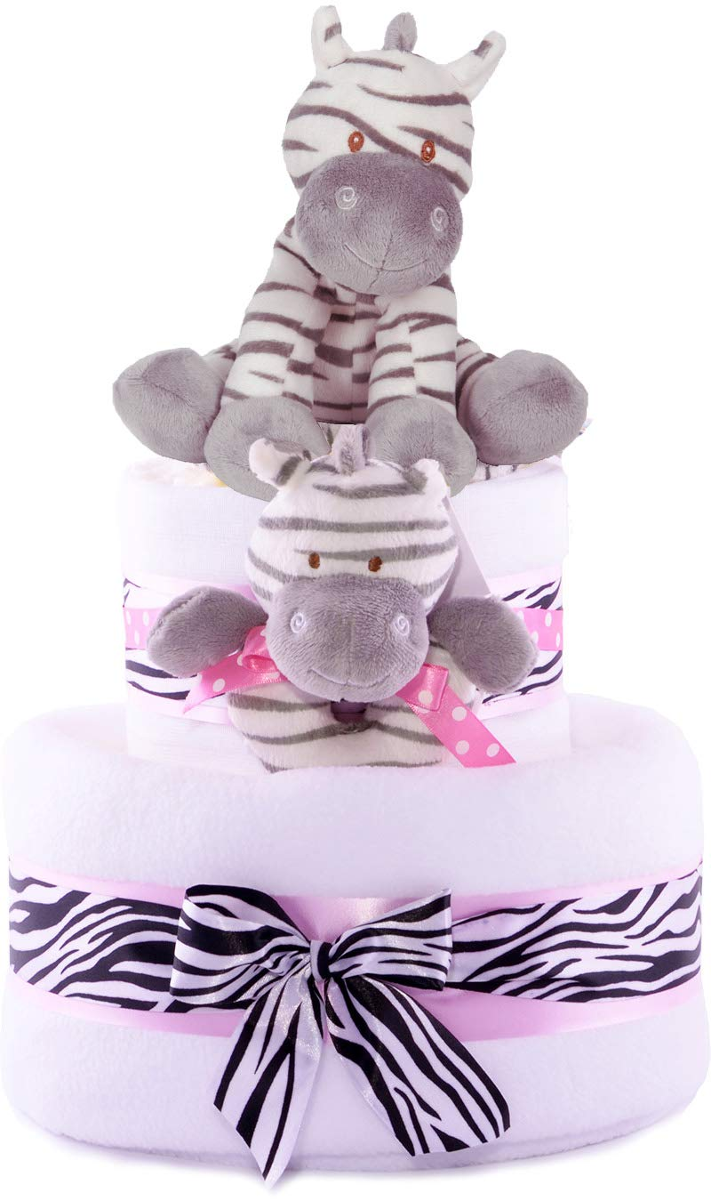 2 Tier Girls print Zebra Stripes Themed Pink Nappy Cake Baby gift basket - FAST DELIVERY! PureNappyCakes