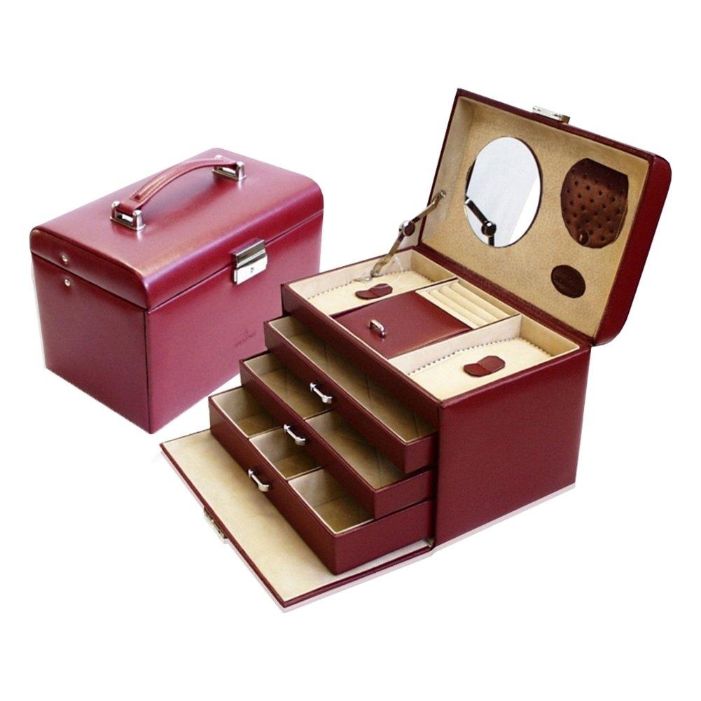 Windrose Merino Schmuckkoffer mit 4 Etagen Rot