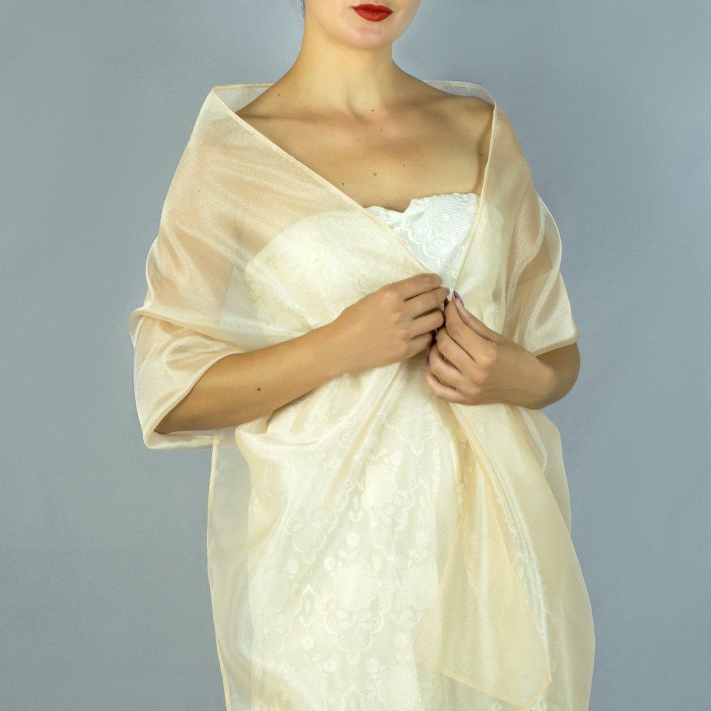 Châle Écharpe Étole Organza Femme Mariage sur Robe de Soirée Mariée champagne beige