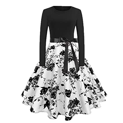 614ff2ec6fc30 Amazon.com: Women's Vintage Hepburn Style Patchwork Puffy Swing Long ...